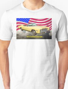 1975 Cadillac Eldorado Convertible And US Flag T-Shirt