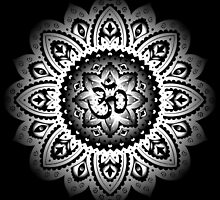 Yoga Mandala Henna Ornate Ohm White by Carolina Swagger
