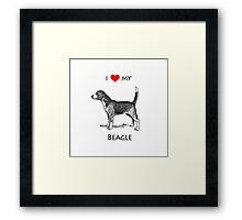 I Love My Beagle Dog Framed Print