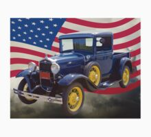 1930 Model A Ford Pickup And American Flag Kids Clothes