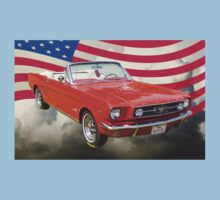 1965 Red Ford Mustang And American Flag Baby Tee