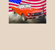 1965 Red Ford Mustang And American Flag Unisex T-Shirt