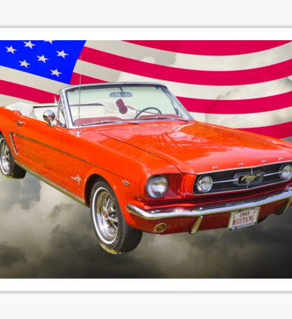 1965 Red Ford Mustang And American Flag Sticker