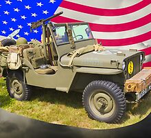 Willys World War Two Jeep And American Flag by KWJphotoart