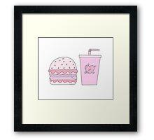 Pink Burger and Drink Framed Print