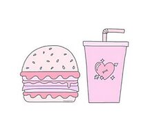 Pink Burger and Drink Photographic Print