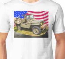 Willys World War Two Jeep And American Flag Unisex T-Shirt