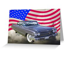 1960 Cadillac Luxury Car And American Flag Greeting Card