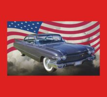 1960 Cadillac Luxury Car And American Flag One Piece - Long Sleeve