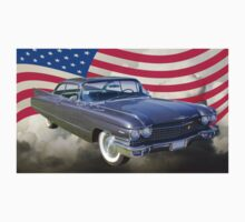 1960 Cadillac Luxury Car And American Flag Kids Clothes