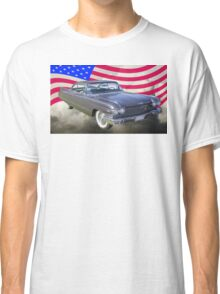 1960 Cadillac Luxury Car And American Flag Classic T-Shirt
