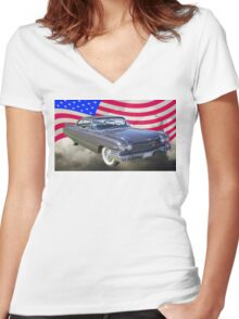 1960 Cadillac Luxury Car And American Flag Women's Fitted V-Neck T-Shirt
