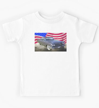 1960 Cadillac Luxury Car And American Flag Kids Tee