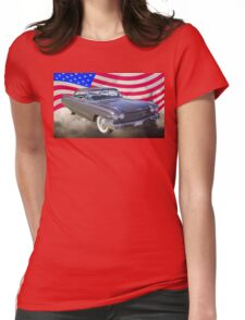 1960 Cadillac Luxury Car And American Flag Womens Fitted T-Shirt