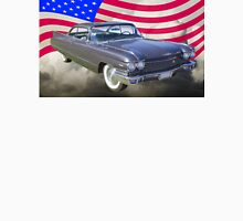 1960 Cadillac Luxury Car And American Flag Unisex T-Shirt
