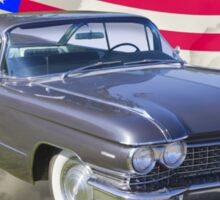 1960 Cadillac Luxury Car And American Flag Sticker