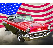 1957 Chevy Bel Air And American Flag Photographic Print
