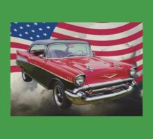 1957 Chevy Bel Air And American Flag Kids Clothes