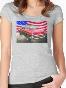 1957 Chevy Bel Air And American Flag Women's Fitted Scoop T-Shirt