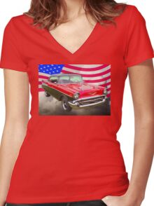 1957 Chevy Bel Air And American Flag Women's Fitted V-Neck T-Shirt