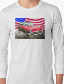 1957 Chevy Bel Air And American Flag T-Shirt