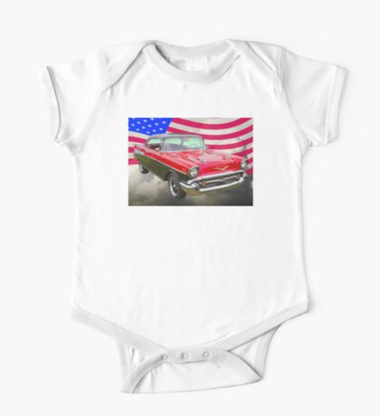1957 Chevy Bel Air And American Flag One Piece - Short Sleeve