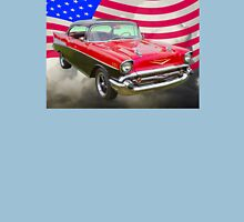 1957 Chevy Bel Air And American Flag Unisex T-Shirt