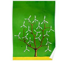 Wind turbine blades on a tree Poster