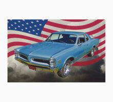 Blue 1966 Pontiac Lemans And American Flag  Kids Clothes