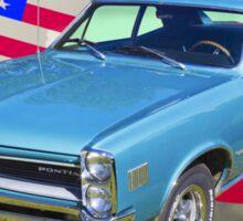 Blue 1966 Pontiac Lemans And American Flag  Sticker