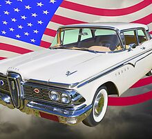1959 Edsel Ford Ranger With American Flag by KWJphotoart