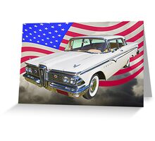 1959 Edsel Ford Ranger With American Flag Greeting Card