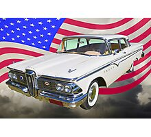 1959 Edsel Ford Ranger With American Flag Photographic Print