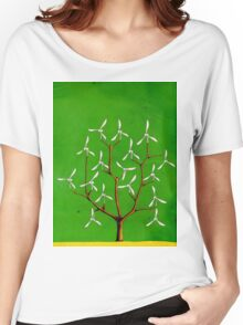 Wind turbine blades on a tree Women's Relaxed Fit T-Shirt
