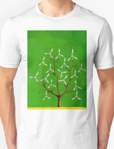 Wind turbine blades on a tree Unisex T-Shirt