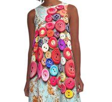 Love Buttons A-Line Dress
