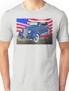 1936 Ford Phaeton Convertible With American Flag  Unisex T-Shirt