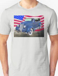 1936 Ford Phaeton Convertible With American Flag  T-Shirt