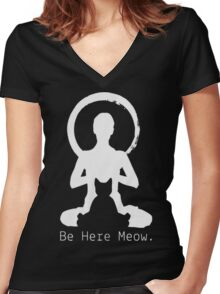 CAT MEOW Women's Fitted V-Neck T-Shirt