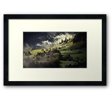 Beautiful sunny day is in mountain landscape Framed Print