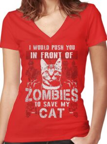 ZOMBIES CAT Women's Fitted V-Neck T-Shirt