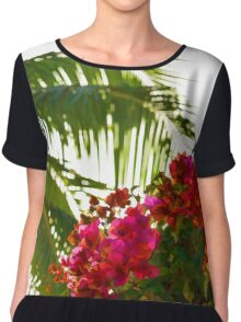 Tropical Impressions - Bougainvilleas and Palm Fronds in the Sky Chiffon Top