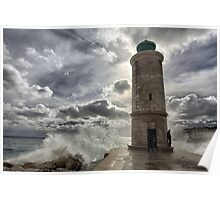 Lighthouse in the storm Poster