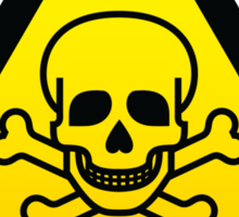 Toxic Hazard Sign Parody - Beware of Pirates T Shirt  Sticker