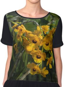 Exotic Orchids - Bright Golden Yellow Smileys  Chiffon Top