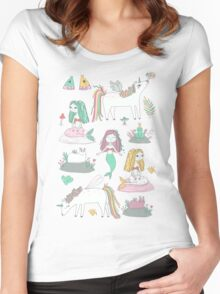 Unicorns and mermaids on the pond Women's Fitted Scoop T-Shirt
