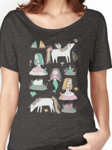 Unicorns and mermaids on the pond Women's Relaxed Fit T-Shirt