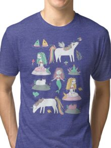 Unicorns and mermaids on the pond Tri-blend T-Shirt