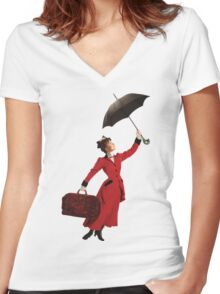 Mary Poppins Women's Fitted V-Neck T-Shirt