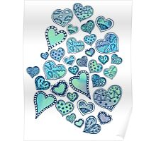 Hippie hearts - Blue-Green Poster